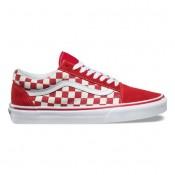 Vans Primary Check Old Skool Zapatos Mujer Racing Rojo / Blancas