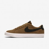 Hombre Zapatillas Nike SB Blazer Low Skateboard 864347-201 Oroen Beige / Vela / Luz Goma Marrón / Negro
