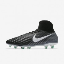 Hombre / Mujer Nike Magista Orden II FG Botas de fútbol para suelo firme 843812-002 Negro / Cool Gris / Estadio Verde / Blancas
