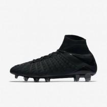 Botas de fútbol Nike Hypervenom Phantom 3 DF FG de suelo firme Hombre / Mujer 860643-010 Negro / Negro / Negro