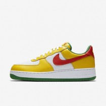Hombre Nike Air Force 1 Low Retro zapatos 845053-700 Amarillo Zest / True Blancas / Classic Verde / Naranja Flash