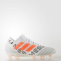 Adidas Fútbol Nemeziz Messi 17.1 Botas de tierra firme Hombre Calzado Blancas / Solar Naranja / Clear Gris BY2405