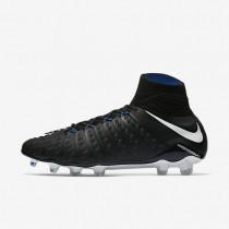 Bota de fútbol hombre tierra Nike Hypervenom Phantom 3 DF FG 860643-002 Negro / Game Royal / Blancas