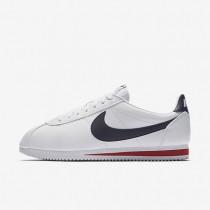 Hombre Nike Classic Cortez Zapato de cuero 749571-146 Blancas / Gym Rojo / Midnight Azul marino