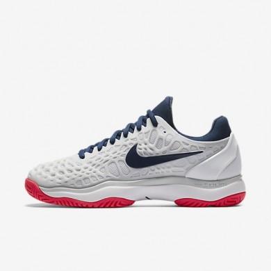Zapatillas de tenis Nike Zoom Cage 3 para mujer 918199-100 Blancas / Pure Platinum / Solar Rojo / Binary Azul