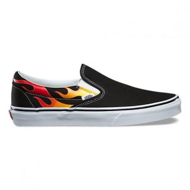 Vans Flame Slip-On Mujer Negro / Negro / True Blancas