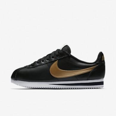 Zapatillas Mujer Cortez Nike Classic 807471-012 Negro / Blancas / Metallic Oro