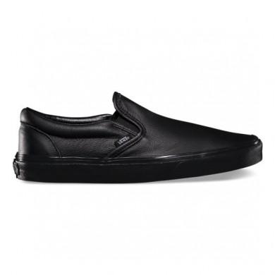 Vans Premium Leather Classic Slip-On Zapatillas Mujer (Cuero Premium) Negro / Mono XG8EW7