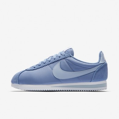 Mujer Nike Classic Cortez 15 Nylon zapatos 749864-401 Diciembre Sky / Blancas / Ligero Armory Azul