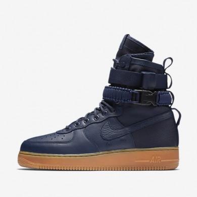 Bota Nike SF Air Force 1 Hombre Midnight Azul marino / Negro / Gum Medium Marrón / Midnight Azul marino 864024-400