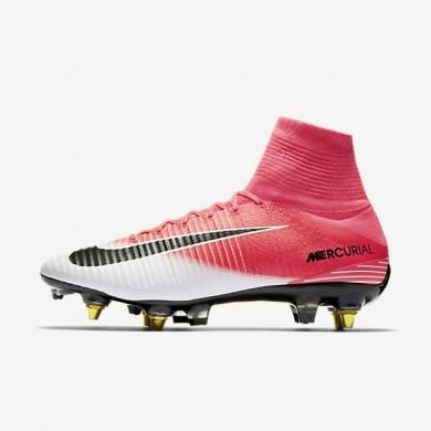 Nike Mercurial Superfly V Dynamic Fit Bota de fútbol suave y antidesgaste SG-PRO para hombre / Mujer 889286-601 Racer Fucsia / Blancas / Negro