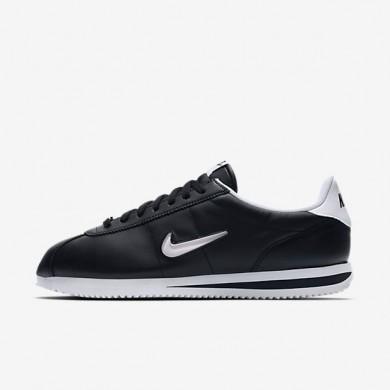 Hombre Nike Cortez Basic Jewel Zapatos 833238-002 Negro / Blancas
