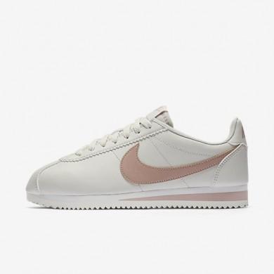Zapatillas Nike Classic Cortez Mujer 807471-013 Ligero Bone / Summit Blancas / Partículas Fucsia