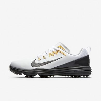 Zapatillas de golf Nike Lunar Command 2 Hombre 849968-102 Blancas / Oscuro Gris / Laser Naranja / Metallic Oscuro Gris