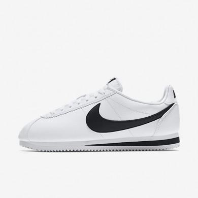 Hombre Nike Classic Cortez Zapato de cuero 749571-100 Blancas / Negro