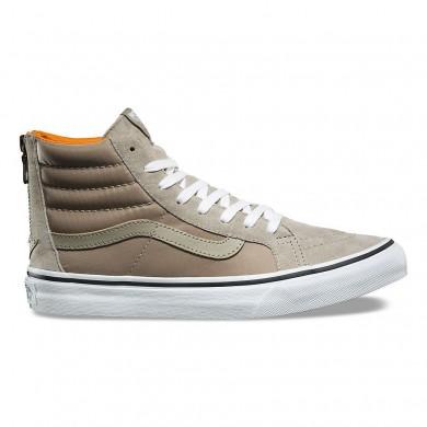 Zapatillas Vans Boom Boom SK8-Hi Slim Zip Mujer Plata Sage / True Blancas