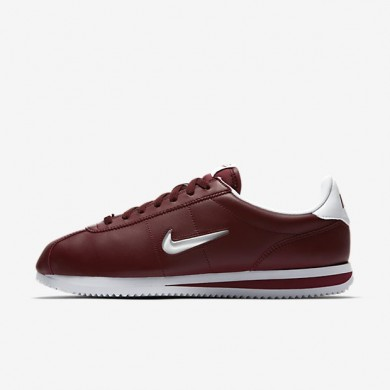 Hombre Nike Cortez Basic Jewel Zapatos 833238-600 Oscuro Team Rojo / Blancas