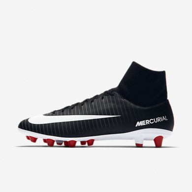 Nike Mercurial Victory VI Dynamic Fit Bota de fútbol de hierba artificial AG-PRO Hombre / Mujer 903608-002 Negro / Oscuro Gris / University Rojo / Blancas